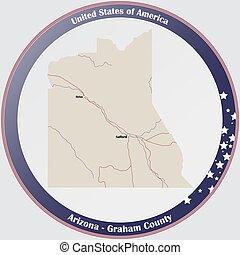 Map of Graham County in Arizona