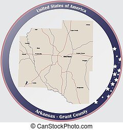 Map of Grant County in Arkansas - Round button with detailed...