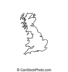 Map of Great Britain icon, outline style