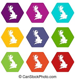 Map of Great Britain icon set color hexahedron