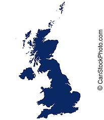 Map of Great Britain in blue colour