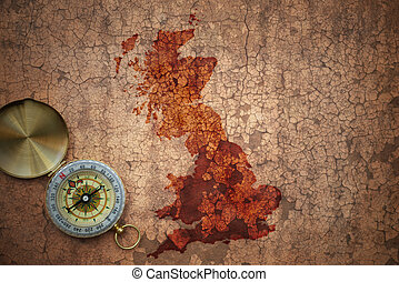 map of great britain on a old vintage crack paper