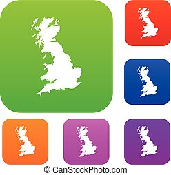 Map of Great Britain set collection