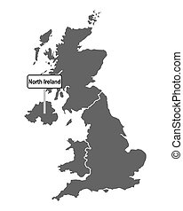 Map of Great Britain with road sign of North Ireland