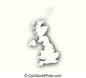 Map of Great Britain with shadow