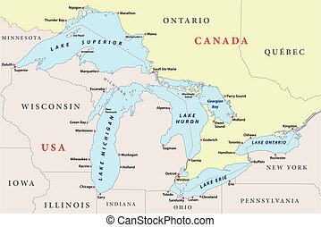 map of great lakes - map of the great lakes