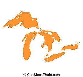 Map of Great Lakes Orange Version