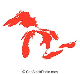 Map of Great Lakes Red Version