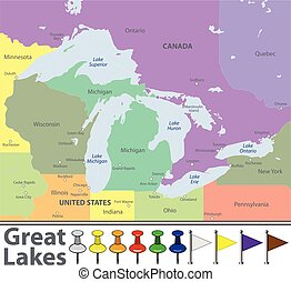 Map of Great Lakes - Vector map of Great Lakes with...