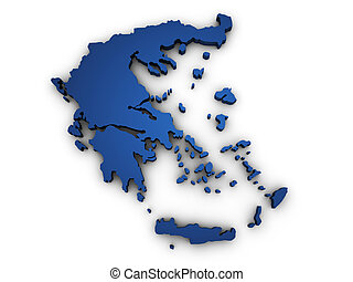 Map Of Greece 3d Shape