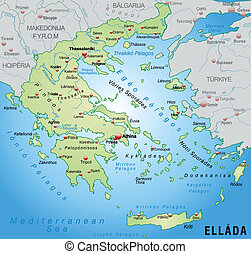 Map of Greece as an overview map in pastel green