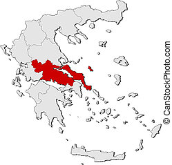Map of Greece, Central Greece highlighted