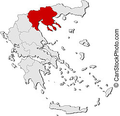 Map of Greece, Central Macedonia highlighted