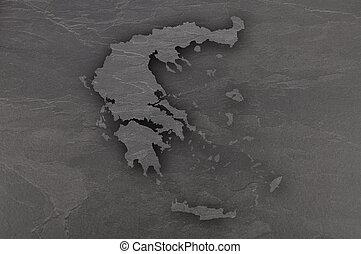 Map of Greece on dark slate