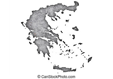 Map of Greece on weathered concrete