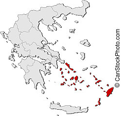 Map of Greece, South Aegean highlighted - Political map of...