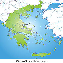 Map of Greece as an overview map in green