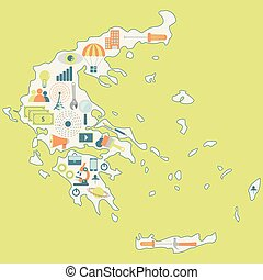 Map of Greece with technology icons
