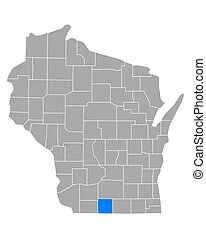 Map of Green in Wisconsin