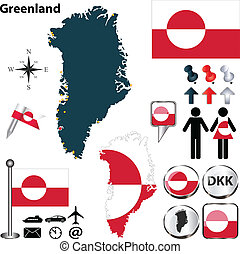 Map of Greenland - Vector map of Greenland with regions,...