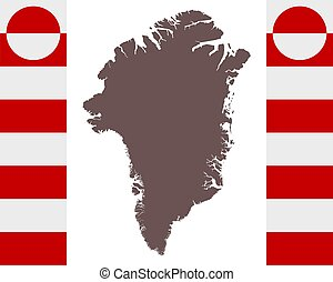 Map of Greenland on background with flag