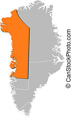 Map of Greenland, Qaasuitsup highlighted - Political map of ...