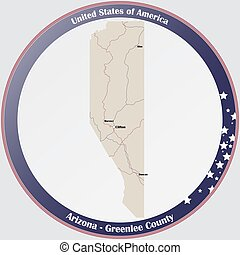 Map of Greenlee County in Arizona