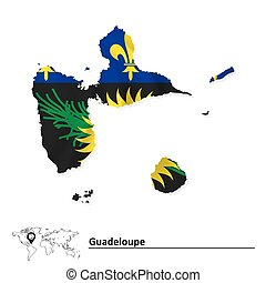 Map of Guadeloupe with flag - vector illustration