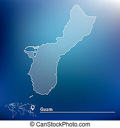 Guam on black world map. map and flag of guam.