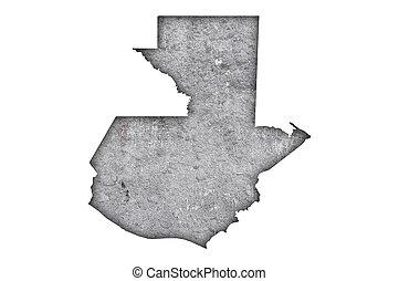Map of Guatemala on weathered concrete