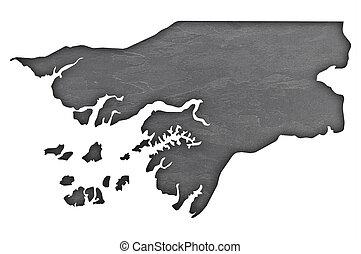 Map of Guinea-Bissau on dark slate