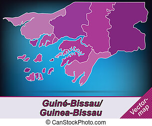 Map of Guinea Bissau with borders in violet