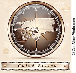 Map of Guinea Bissau with borders in bronze