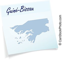Map of Guinea Bissau as sticky note in blue