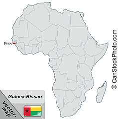 Map of Guinea Bissau with main cities in pastel orange