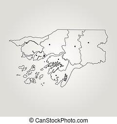 Map of Guinea-Bissau. Vector illustration. World map