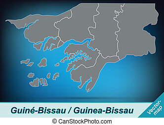 Map of Guinea Bissau with borders in bright gray