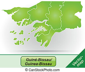 Map of Guinea Bissau with borders in green
