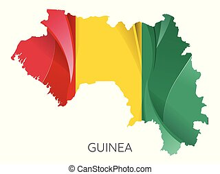 Map of Guinea with an official flag. Illustration on white background
