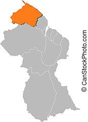 Map of Guyana, Barima-Waini highlighted