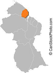 Map of Guyana, Cuyuni-Mazaruni highlighted