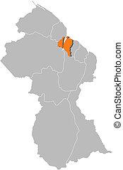 Map of Guyana, Demerara-Mahaica highlighted