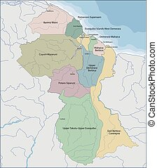 Map of Guyana - Guyana is a country on the northern mainland...