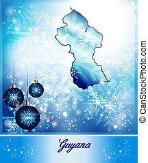 Map of Guyana in Christmas Design in blue