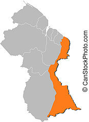 Map of Guyana, Mahaica-Berbice highlighted