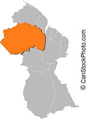 Map of Guyana, Pomeroon-Supenaam highlighted