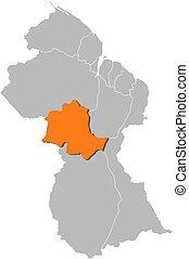 Map of Guyana, Potaro-Siparuni highlighted