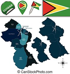 Map of Guyana with Named Regions
