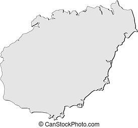 Map of Hainan (China) - Map of Hainan, a province of China.