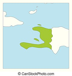 Map of Haiti green highlighted with neighbor countries
